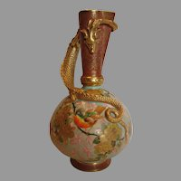 English Old Hall Earthenware Jug Ewer Vase w Coiling Dragon Designed by Christopher Dresser Hand Painted Song Bird c 1884 - 1890