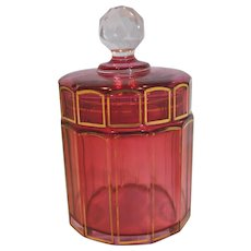 Bohemian Moser Cranberry or Pale Ruby Art Glass Paneled Dresser Box Jar c 1930