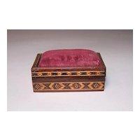 Tunbridge Ware Rosewood Pin Cushion Box, c.1870