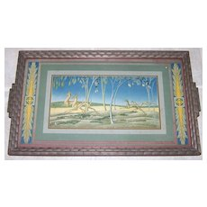 Elmer Kreps Signed Lithograph Art Deco Cocktail Tray, c.1920s
