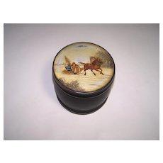 Russian (Fedoskino) Lacquer Tea Caddy, Vishnyakov Mark, c.1870