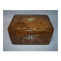 "Burl Walnut Victorian Box, ""Cushion"" Shaped, w/ MOP, Abalone, c.1860"