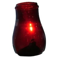 """Rare Ruby Red Cased over Clear Glass """"Seamless"""" Blown Molded Lantern Globe !"""