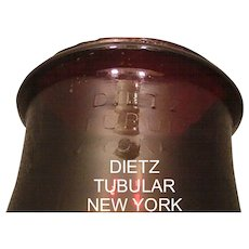 """Rare Dark Pigeon Blood Red  """"DIETZ"""" within an oval which is not within the 1914 patented Lantern Globe !"""