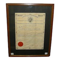 """3 Piece Grouping from Lebanon,Pa. """"U. B. Mutual Aid Society"""" insurance company with 1875 Double Sided Husband & Wife Policies !"""