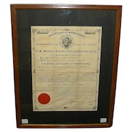 "Lebanon,Pa. "" U. B. Mutual Aid Society "" Insurance Company 3 Piece Grouping with 1875 Husband & Wife Policies !"