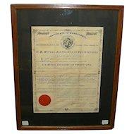 "Lebanon,Pa. "" U. B. Mutual Aid Society "" Insurance Company 3 Piece Grouping with 1875 Husband & Wife Policies !"