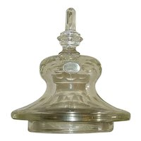 """Awesome Cut & Engraved """"Blown Glass Apothecary Show Jar Lid"""" !"""
