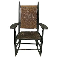 """Child's Rocker """"Manufactured by L. J. Colony Keene,NH."""" Stamped on Armrest Circa 1880 to 1920."""