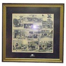 Souvenir Lebanon,Pa. City Fire Department Framed Handkerchief Circa 1900 !