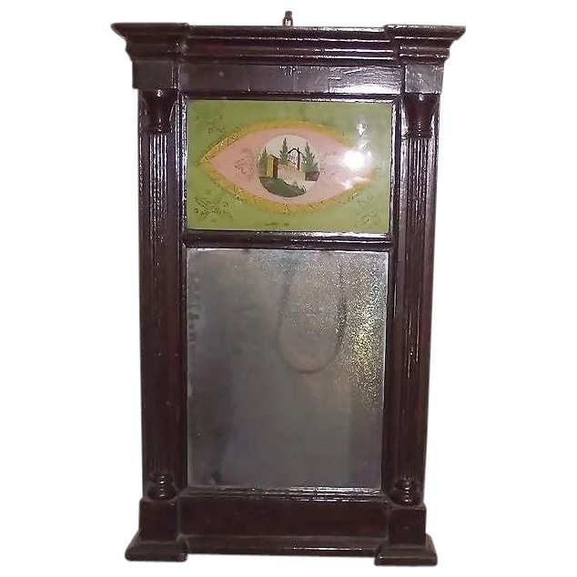 American Country Sheraton Reverse Painted Glass Mirror
