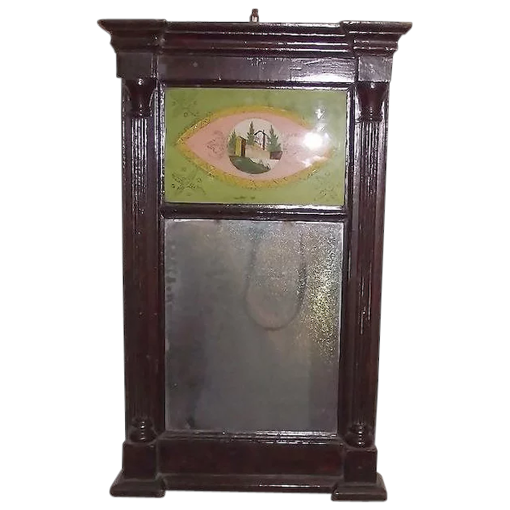 American Country Sheraton Reverse Painted Glass Mirror Ca 1850 Antique Investments Ruby Lane