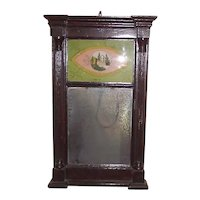American Country Sheraton Reverse Painted Glass Mirror ! Ca. 1850.