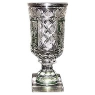 Superior Blown Glass Goblet, Flashed & Stained Green, & Cut to Clear Floral Panels and Strawberry Cut Diamonds !