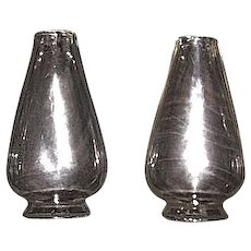 Matching Set  2 3/8 inch Early Blown Molded Chimneys, with Notched Base and Flat Flame Shape body for a Set-Screw or a Clip-Type burner !  Circa 1860-70's.
