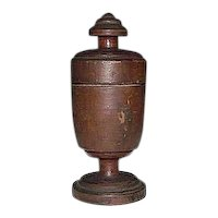 Artist Signed & Dated 1910 Treenware Spice Urn !