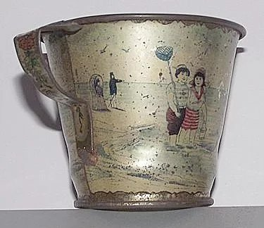 Early Tin Lithographed Quot Victorian Beach Scene Quot On A Child