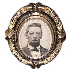 """14 Karat Gold Convert-able """"Mourning Broach"""" with Man's Photo & Reversable Hair Locket under Beveled Glass !"""