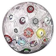 Authentic Dated 1848 Baccarat Spaced Millefiori Cane Paperweight with Gridel Figures  !!! From their Early Period of Master Craftsmanship.