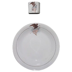 """""""U.S. Eagle & Shield"""" Rare Wall Pocket Match Holder & Matching Decorated Bowl, made by  Harker Pottery Co. East Liverpool, Ohio Circa 1890 !"""