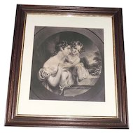 """Large 24 inch Walnut Framed Original """"Mother & Daughter"""" Engraved Print ! The Frame alone is Worth the asking price."""