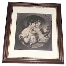 "Large 24 inch Walnut Framed Original ""Mother & Daughter"" Engraved Print ! The Frame alone is Worth the asking price."