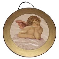 """Glass Flue Cover with """"Young Winged Angel"""" Looking up to Heaven  Circa 1900."""