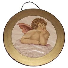 "Glass Flue Cover with ""Young Winged Angel"" Looking up to Heaven  Circa 1900."