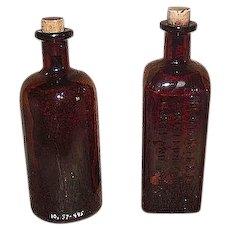 "Embossed ""Schlotterbeck & Foss Co."" & ""Mulford Laboratories"" Drug Store Dark Amber Glass Bottles !"
