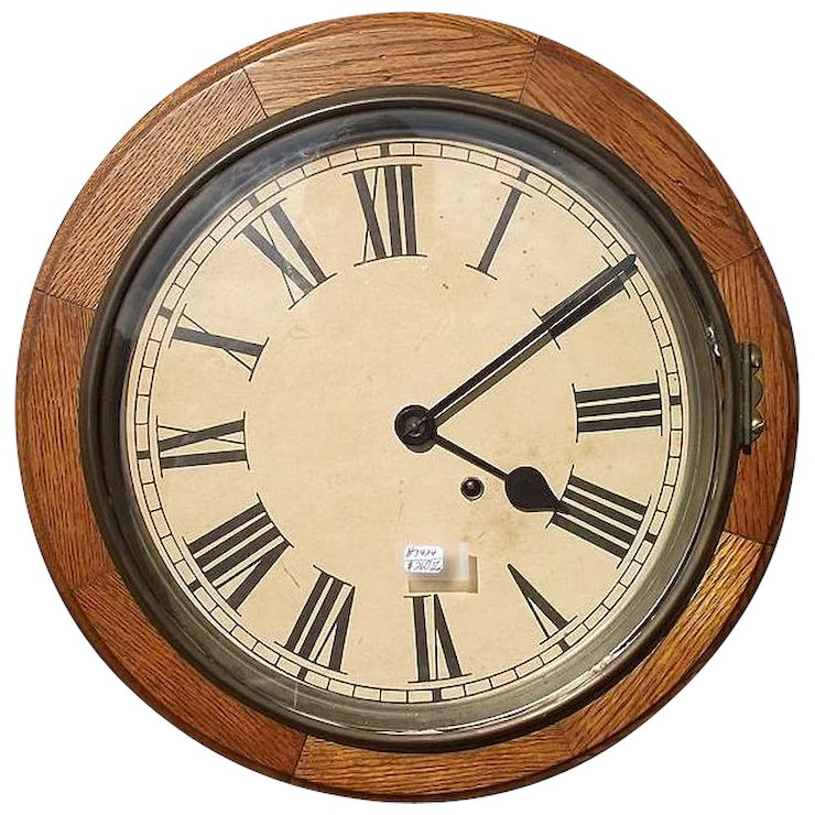 Seth Thomas 8 Day Oak Gallery Clock With 12 Inch Dial Sold Ruby