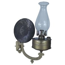 """Restored Early model """"Bradley's Factory Security Lamp"""" tag marked  & """"Pat. Apl'd For"""" on Wall Arm Bracket  with Tin Reflector  !!! Ca. 1890's."""