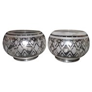 "Matching Pair of 5 inch Geometric ""Diamond & Darts"" Pattern Blown Glass Shades !!!"