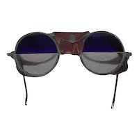 "RARE WILLSON Split ""Cobalt Blue over Clear Glass Lenses"" re-purposed Steam Punk Goggles !!! Circa 1930's."