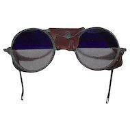 "RARE WILLSON Split ""Cobalt Blue over Clear Glass Lenses"" re-purposed Steam Punk Goggles !!! Circa 1930's."