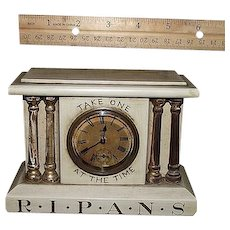 "Miniature Drug Store Advertising Clock marked "" R*I*P*A*N*S Take One  At The Time""  with original non-working Seth Thomas Movement & Paper Dial. Ca. 1900."