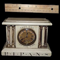 """Miniature Drug Store Advertising Clock marked """" R*I*P*A*N*S Take One  At The Time""""  with original non-working Seth Thomas Movement & Paper Dial. Ca. 1900."""