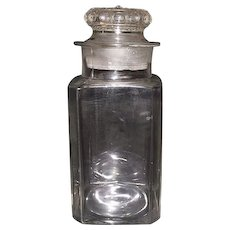 """Square with beveled corners """"Apothecary"""" or Drug Store Jar with Lid !   Ca. 1900."""