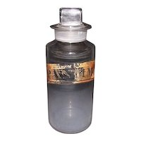 """Free Blown """"P.Antimon:"""" Apothecary or Drug Store Glass Jar with original  polished glass Stopper ! Ca. 1870."""