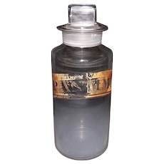 "Free Blown ""P.Antimon:"" Apothecary or Drug Store Glass Jar with original  polished glass Stopper ! Ca. 1870."