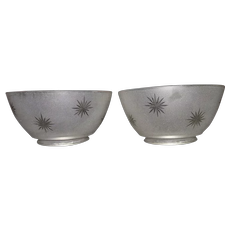 """Matching Pair of  """"Frosted then Cut to Clear Starburst"""" Pattern Gas Shades with 4 inch base Fitters !!!  Ca. 1900."""