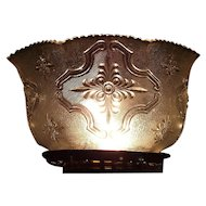 """Bright Silver Sheen with Embossed """"Raised Cartouch"""" Pattern Glass Shade with Heavy Leaded content !!! Ca. 1900."""