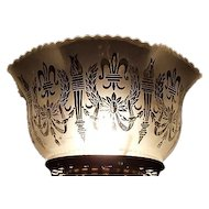 "Satin Frosted & Acid Etched ""Wreath & Torches"" Pattern with Fleur-de-Lis and standard 4 inch base fitter  !!!         Circa 1900."
