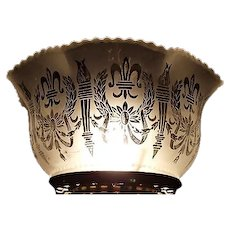 """Satin Frosted & Acid Etched """"Wreath & Torches"""" Pattern with Fleur-de-Lis and standard 4 inch base fitter  !!!         Circa 1900."""