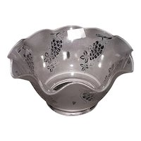 """Satin Frosted Acid Etched """"Grapes"""" Pattern with a Hand Ruffled Top and 4 inch fitter base !!!  Ca. 1900."""