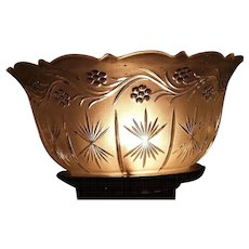 """Satin Frosted """"Flowering Vine & Starburst"""" Vertical Pattern with a Scalloped Top and 4 inch fitter base !!! Ca. 1900."""