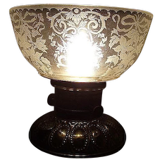 "Satin Frosted / Acid Etched ""Floral Bouquets & Bows"" Art Nouveau Decorated Panels on this Shade with the standard 4 inch Base fitter. Ca. 1900."