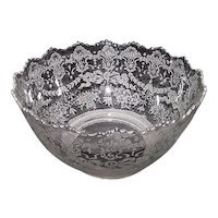 """Reverse Acid Etched """"Floral Bouquets & Draped Bell-Flowers"""" Decorated Gas Shade with 4 inch Base Fitter. Ca. 1910."""