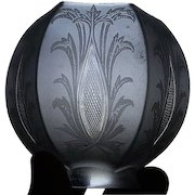 """Rare Cut """"Diamond Quilted Sliver"""" Pattern on a Fantastic Satin Frosted Floral Art Nouveau Decorated Glass Shade with a 2 1/4 inch fitter ! Ca. 1905."""