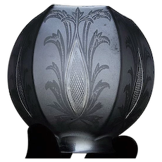 "Rare Cut ""Diamond Quilted Sliver"" Pattern on a Fantastic Satin Frosted Floral Art Nouveau Decorated Glass Shade with a 2 1/4 inch fitter ! Ca. 1905."