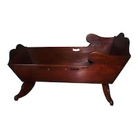 Colonial Pennsylvania Black Walnut Rocking Cradle with  Twin Cyma Curves on the Headboard & Footboard Circa 1750 to 1800 !!!